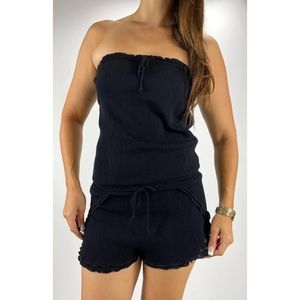 SEAFOLLY Black Strapless Ruffle Playsuit Size S 10
